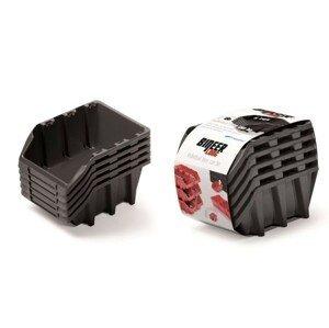 PlasticFuture Set úložných boxů 5ks Ziron 198x118x155 černý