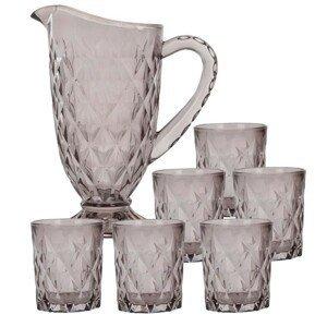 DekorStyle Set džbán + skleničky - šedý