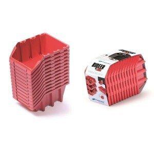 PlasticFuture Set úložných boxů 12ks Ziron 190x77x120 červený