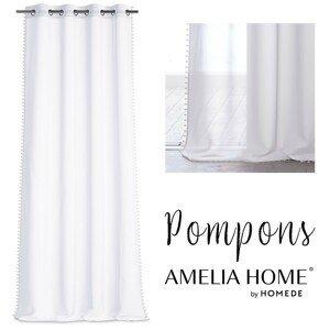 Záclona AmeliaHome Pompons bílá