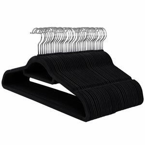 Rongomic Velurové ramínko na oděvy 50 kusů - černé
