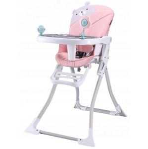 ECOTOYS Dětská jídelní židle Teddy bílo-růžová