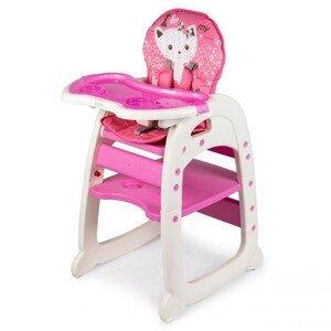 ECOTOYS Dětská jídelní židle 2v1 Animals růžová