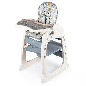 ECOTOYS Dětská jídelní židle 2v1 Animals šedá