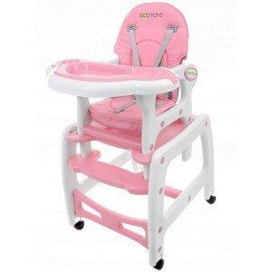 Dětská jídelní židlička EcoToys 3v1 DESTI růžová