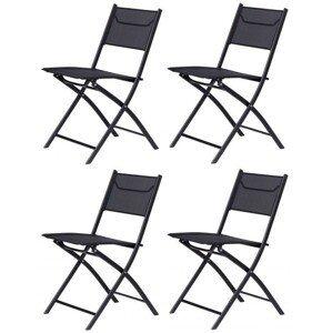 Zahradní židle MARK ModernHome 4 kusy černá