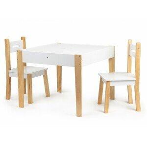 Dětský stolek s 2 židličkami Ecotoys Patrys bílý