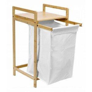 TZB Vysouvací bambusový koš na prádlo HANOI hnědo-bílý