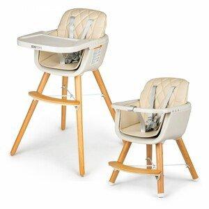 ECOTOYS Dětská jídelní židlička Lia 2v1 béžová