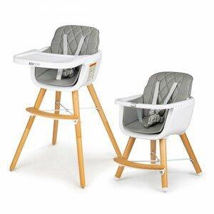 ECOTOYS Dětská jídelní židlička Lia 2v1 šedá
