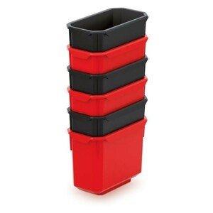 PlasticFuture Set 6 plastových boxů na nářadí TITANO 140x75x280 černá/červená