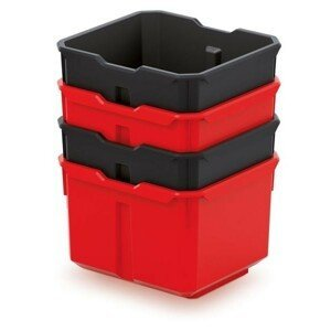 PlasticFuture Set 4 plastových boxů na nářadí TITANO 157x140x210 černá/červená