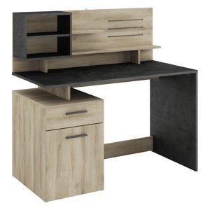 Psací stůl MALICIA dub/černý antik
