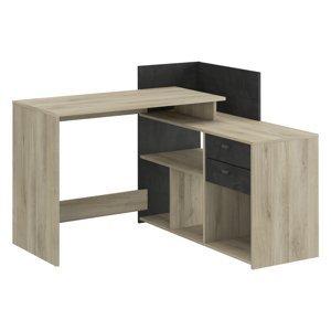Psací stůl rohový VISTA dub/černý antik