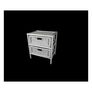Ratanový prádelník 2 zásuvky - bílý ratan