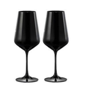 Crystalex Sklenice na víno BLACK&WHITE ONE 450 ml, 2 ks Sklenice: Černé