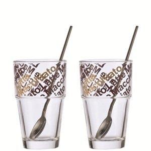 Leonardo SOLO sklenice se lžičkou na Latte Macchiato 400 ml, 2 ks