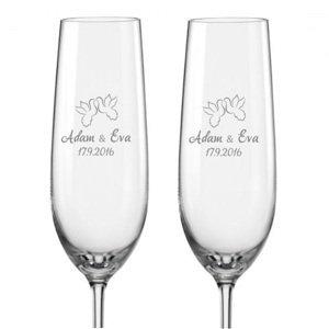 Svatební skleničky na sekt Hrdličky, 2 ks