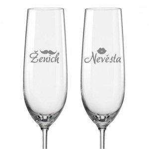 Svatební skleničky na sekt Ženich a Nevěsta s datem svatby na dýnku, 2 ks