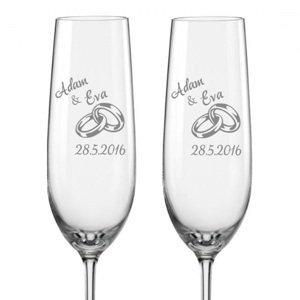 Svatební skleničky na sekt Prstýnky, 2 ks