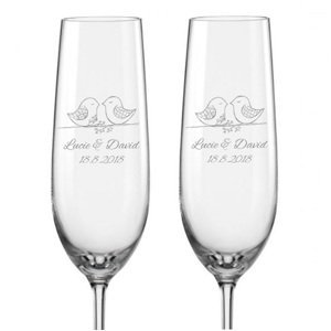 Svatební skleničky na sekt Ptačí souznění, 2 ks