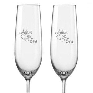 Svatební skleničky na sekt Spojená srdce s datem svatby na dýnku, 2 ks