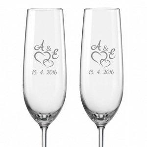 Svatební skleničky na sekt Spojená srdce s monogramy, 2 ks