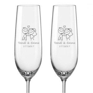 Svatební skleničky na sekt Šťastní novomanželé, 2 ks