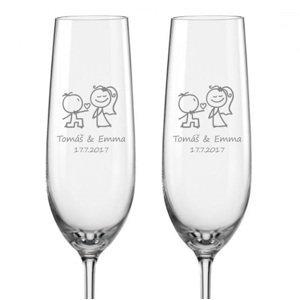 Svatební skleničky na sekt Zamilovaní novomanželé, 2 ks