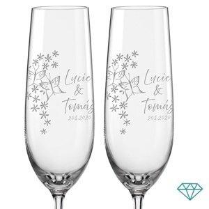 Svatební skleničky na sekt Motýlci s krystaly, 2 ks