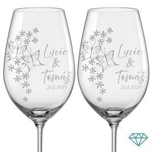 Svatební skleničky na víno Motýlci s krystaly, 2 ks