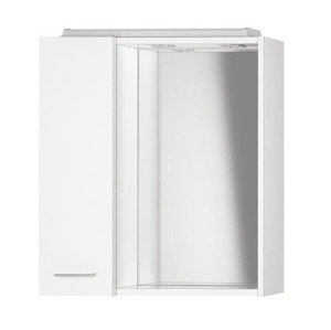 Zrcadlová skříňa Aqualine Zoja 60x60 cm levá bílá s osvětlením 45021