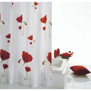 MOHN sprchový závěs 180x200cm, polyester, červenobílá