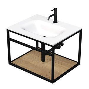 Konstrukce s umyvadlem bílá mat Naturel Industrial 66x46,2x53 cm dub halifax police KONZOLEUM65BD