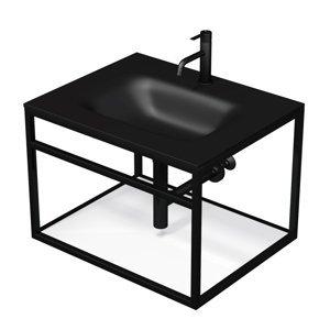 Konstrukce s umyvadlem černá mat Naturel Industrial 66x46,2x53 cm bílá police KONZOLEUM65CB
