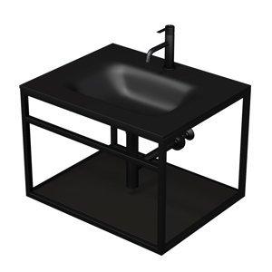 Konstrukce s umyvadlem černá mat Naturel Industrial 66x46,2x53 cm černá police KONZOLEUM65CC