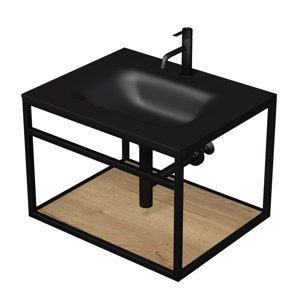 Konstrukce s umyvadlem černá mat Naturel Industrial 66x46,2x53 cm dub halifax police KONZOLEUM65CD
