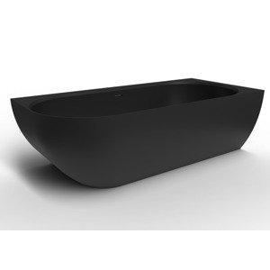 Volně stojící vana Swiss Aqua Technologies Nelly 82x175 cm litý mramor pravá černá SATNEL1700PC