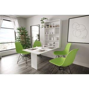 Rozkládací jídelní stůl Abako s regálem, bílý