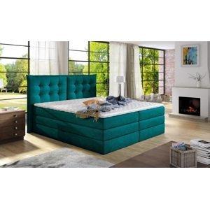 Luxusní box spring postel Field 180x200  WSL: Potah Žinilka Jasmine 85 tyrkysová