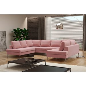 Kvalitní sedací souprava tvaru U Mondeo, růžová