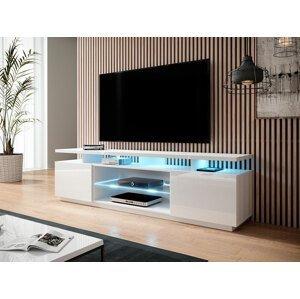 Kvalitní TV stolek Eremko, MDF bílý lesk + LED podsvícení