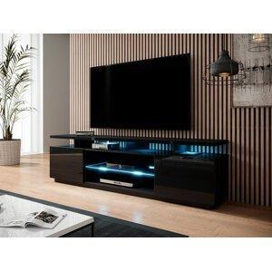 Kvalitní TV stolek Eremko, MDF černý lesk + LED podsvícení