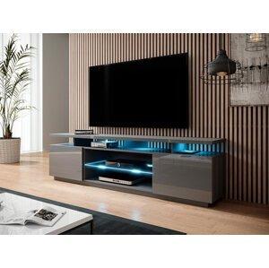 Kvalitní TV stolek Eremko, MDF šedý lesk + LED podsvícení