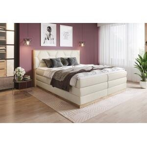 Luxusní box spring postel Garone 180x200 s výběrem potahu! WSL: Potah Žinilka Soro 21 krémová