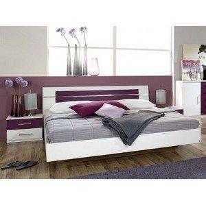 Postel s nočními stolky Burano 160x200 cm, bílá/fialová