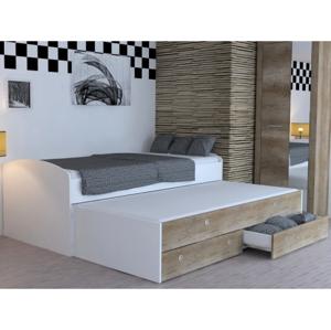 Rozkládací postel Patrik Color 90x200 cm, bílá/dub canyon