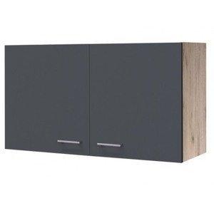 Horní kuchyňská skříňka Tiago H100, dub sonoma/šedá, šířka 100 cm