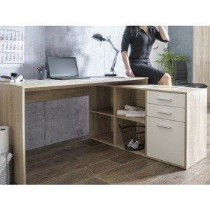 Rohový psací stůl London, dub sonoma/bílá