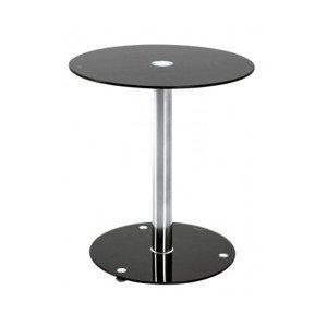 Kulatý odkládací stolek Ural, černé sklo